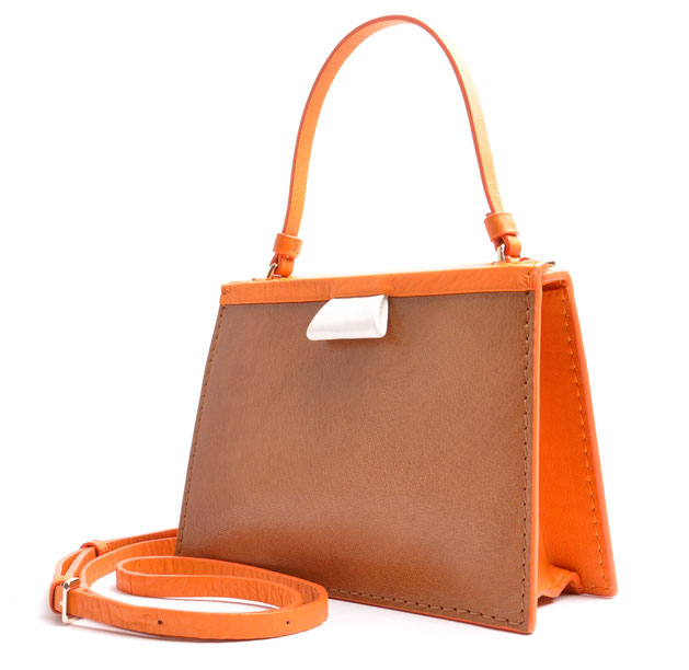 OSTWALD Bags . Finest Couture . Handcrafted Leahterbag . Tote . brown . orange . white