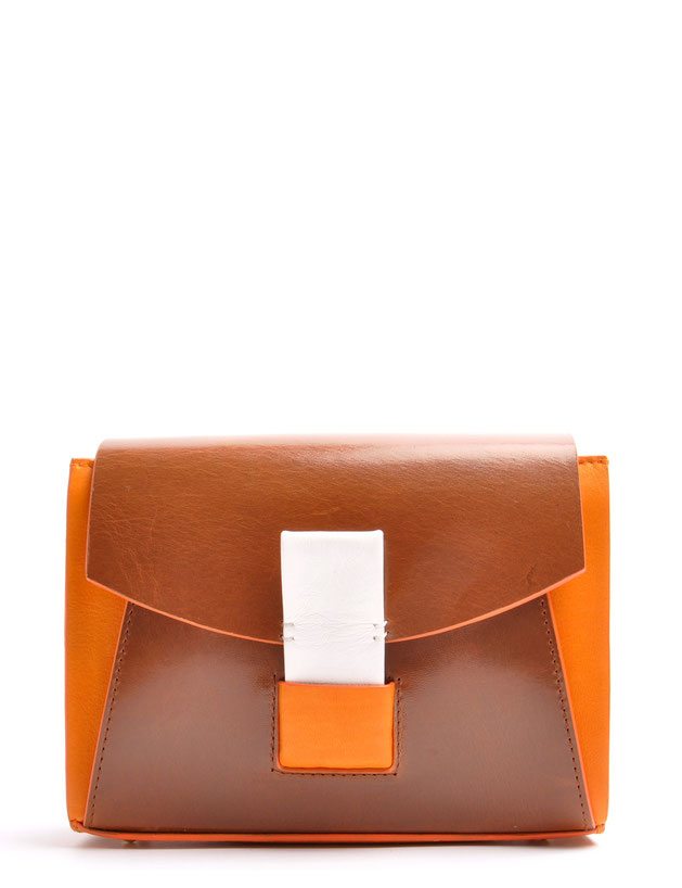 OSTWALD Bags . Finest Couture . Handcrafted Leatherbag . Shoulderbag . Glide Loop brandy . mandarino . white