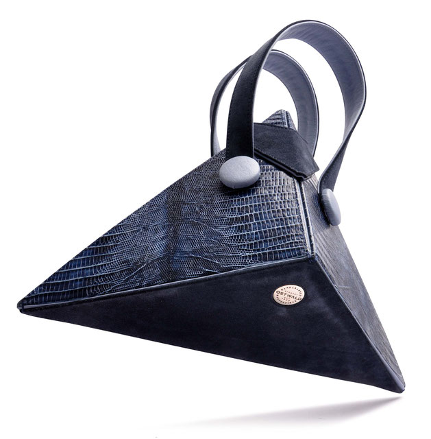 OSTWALD Bags . Art Couture .  Leatherbag . multicolor . navy blue . mid blue . Contemproary Handbag