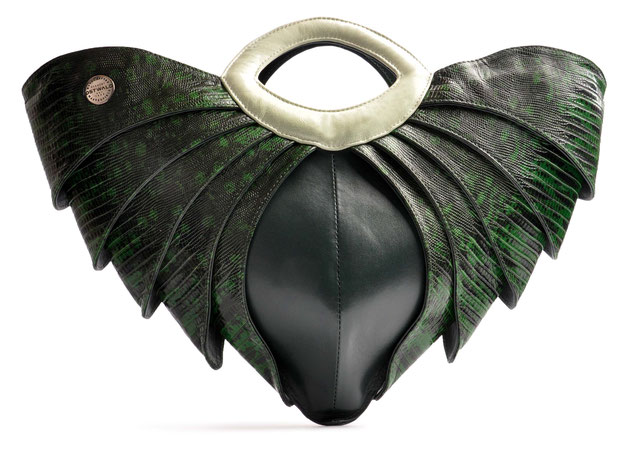 OSTWALD Bags . BATMAN . OSTWALD Art Couture Bag.  Handbag . Handcrafted Leatherbag . green Artbag . Slow fashion. Contemporary Clutch . Purse