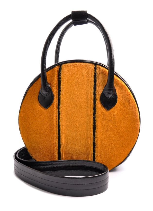 OSTWALD Bags . Finest Couture . Handcrafted Leatherbag . Circle Tote . black . yellow