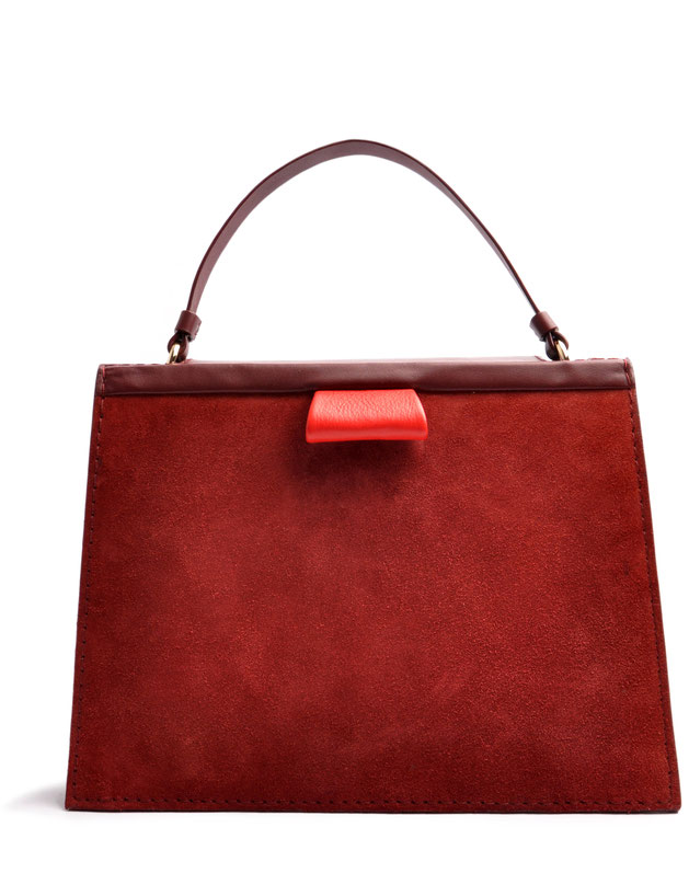 OSTWALD Bags . Finest Couture . Handcrafted Leatherbag . Tote . Turtle Edge Tote . colour bordeaux . red