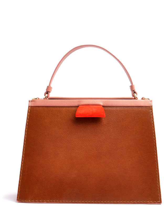 OSTWALD Bags . Handcrafted Leahterbag . Tote . Brown . rose . red