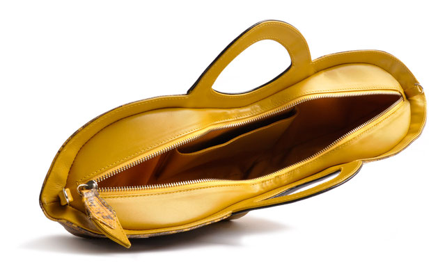 OSTWALD Bags . BATMAN . OSTWALD Art Couture Bag.  Handbag . Handcrafted Leatherbag . black yellow Artbag . Slow fashion. Contemporary Clutch . Purse