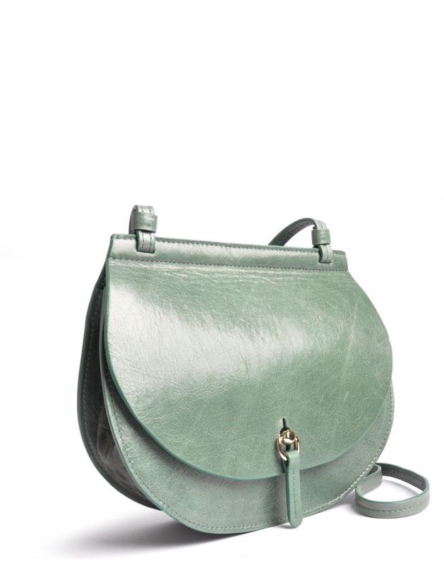 OSTWALD Bags . Finest Couture . Handcrafted Leatherbag . Saddle . Shoulder bag . colour salvia . green Bag