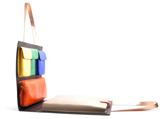OSTWALD Bags . CARRY ON . Reversible Bag . Shoulder bag . Leather bag in multicolor . leather bag .  Shop online . Statement Bag.  Everyday Bag . Webshop