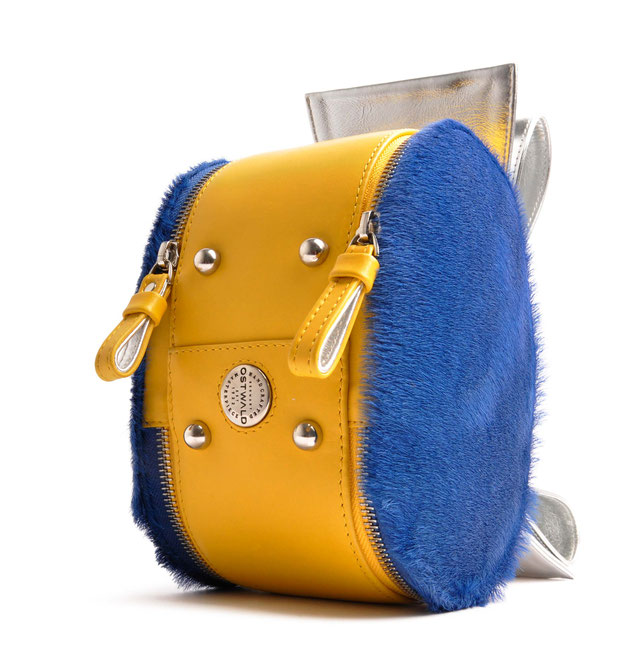 OSTWALD Art Couture Bags . BOW OVAL  . Online Shop for Contemporary Handbags. Leatherbag . multicolor . royal blue . yellow  and silver