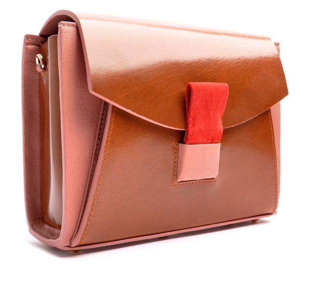 OSTWALD Bags . Finest Couture . Handcrafted Leatherbag . Shoulder bag . Glide Loop brown . rose . red