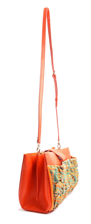 OSTWALD Bags . SHOPPER . Small Shopper Bag  . Leather bag in multicolor . orange green leather bag . Shop online . Everyday Bag.  Webshop