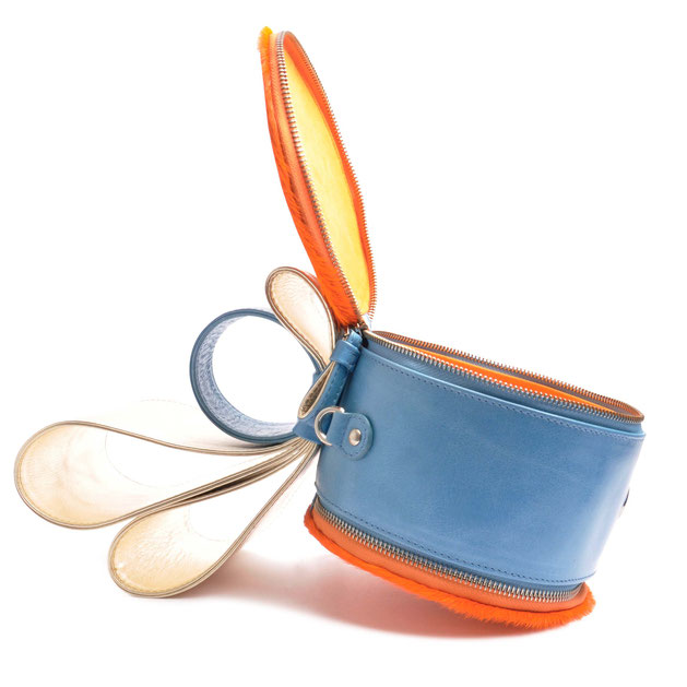 OSTWALD Art Couture Bags . BOW Bag  . Online Shop for Contemporary Handbags. Leatherbag . multicolor . light blue . orange and gold