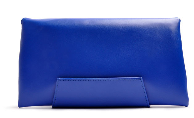 OSTWALD Finest Couture Bags . Handcrafted Leatherbag . Envelope. Clutch in  royal blue