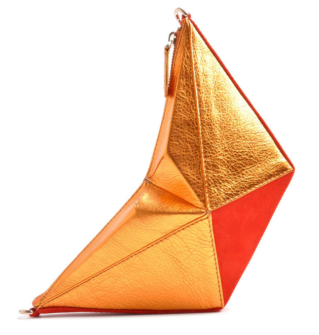 OSTWALD Bags . ORIGAMI . OSTWALD Art Couture Bag.  Handbag . Handcrafted Leatherbag . black yellow Artbag . Slow fashion. Contemporary Clutch . colour red, copper and cognac
