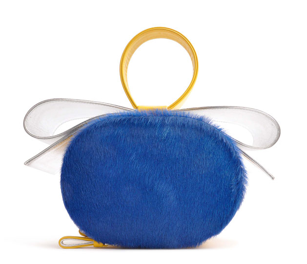 OSTWALD Art Couture Bags . BOW OVAL  . Leatherbag . multicolor . royal blue . yellow  and silver . Online Shop for Contemporary Handbags