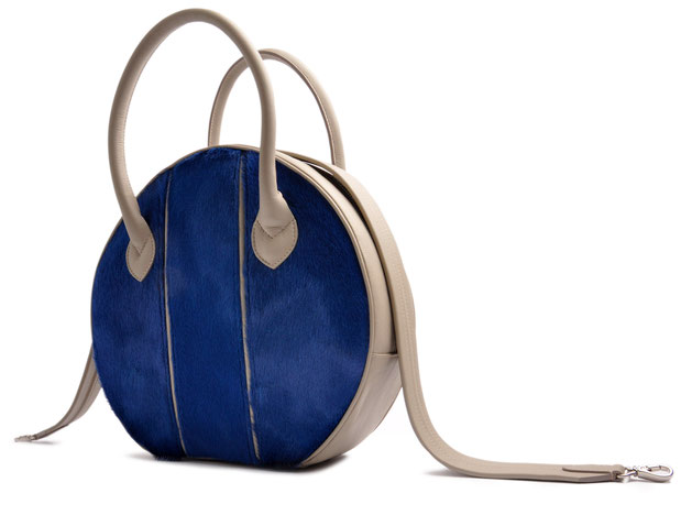 OSTWALD Bags . Finest Couture . Handcrafted Leatherbag . Tote . grey and blue Leatherbag