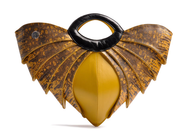 OSTWALD Bags . BATMAN . OSTWALD Art Couture Bag.  Handbag . Handcrafted Leatherbag . black yellow Artbag . Slow fashion. Contemporary Clutch . Purse