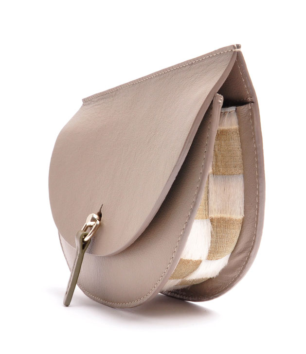 OSTWALD Bags . Finest Couture . Handcrafted Leatherbag . Saddle Bag . Bodybag . taupe olive white. fur lasercuted