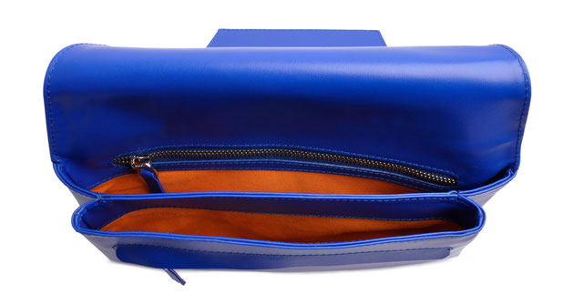 OSTWALD Finest Couture Bags . Handcrafted Leatherbag . Envelope. Clutch in  royal blue, Lining orange Velour