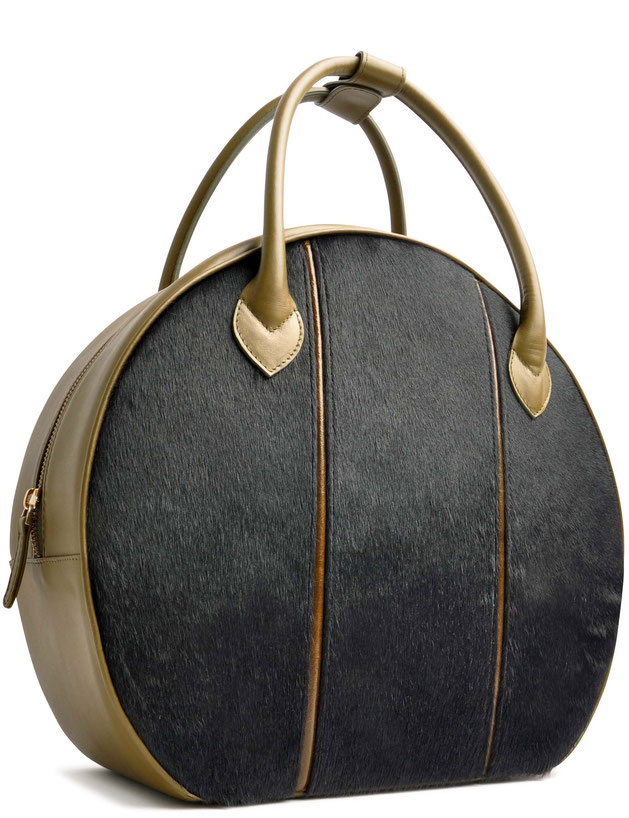 OSTWALD Bags . Finest Couture . Handcrafted Leatherbag . Big Circle Tote . black . yellow