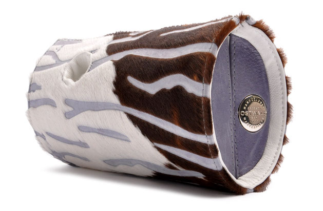 OSTWALD Bags . Art Couture Clutch Barrel .  Handbag . Handcrafted Leatherbag . multicolor . purple, white, brown . Slow fashion