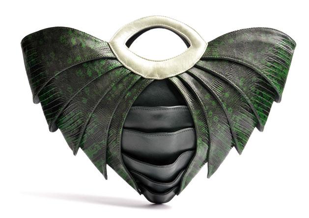 OSTWALD Bags . SAMURAI . OSTWALD Art Couture Bag.  Handbag . Handcrafted Leatherbag . green Artbag . Slow fashion. Contemporary Clutch . Purse