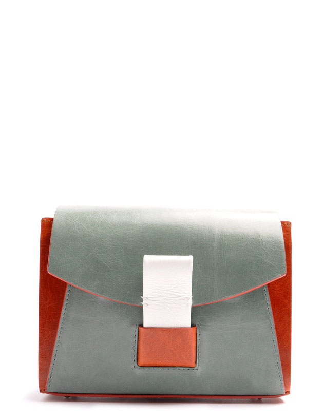 OSTWALD Bags . Finest Couture . Handcrafted Leatherbag . Shoulderbag . Glide Loop brown . green . white