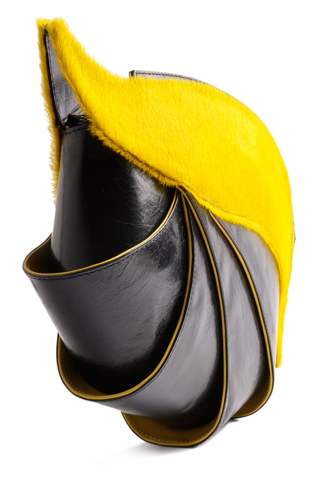 OSTWALD Bags . NAUTILUS . OSTWALD Art Couture Bag.  Handbag . Handcrafted Leatherbag . black yellow Artbag . Slow fashion. Contemporary Clutch . Purse