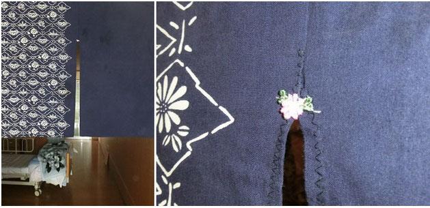 こちらは藍色の生地に模様が映えます。ワンポイントの花びらが「かわいらしさ」を演出