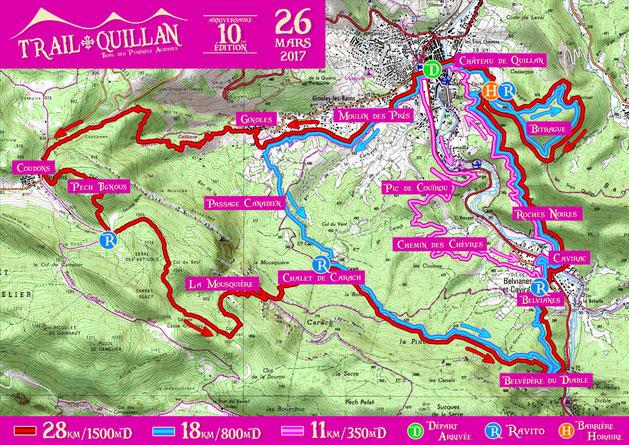 Trail Quillan 2017 - Plan des parcours