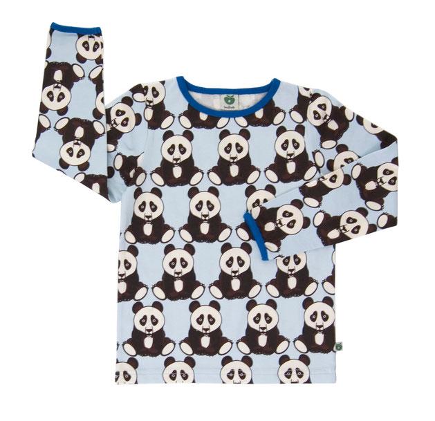 Smafolk Longsleeve Shirt Pandas Hellblau