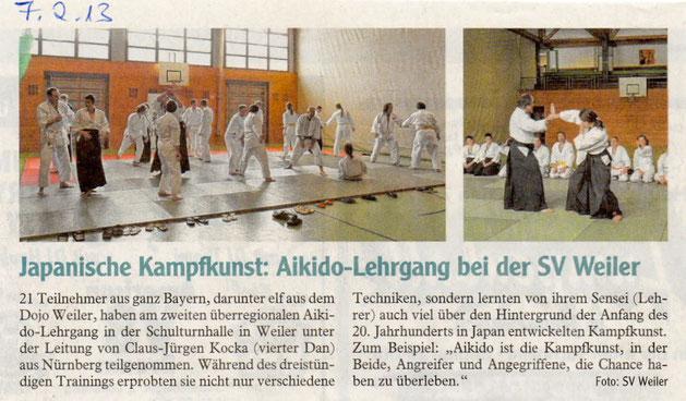 Bericht zum überregionalen Aikido Lehrgang mit Kocka Sensei