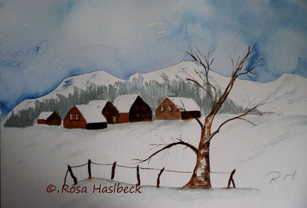 Winterlandschaft, winteraquarell, aquarell bild, kunst, winter, schnee, baum, frost, wandbild, dekoration,handgemalt