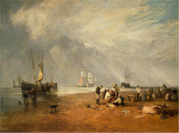 """J.M.W. Turner, """"Il mercato del pesce a Hastings Beach"""" (1810)"""