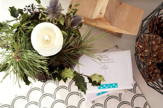 dieartigeBLOG - Weihnachtspost + Adventsgesteck