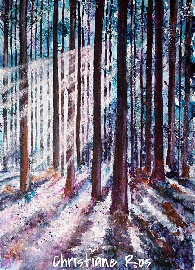 gemaltes Bild Wald vom Licht durchflutet © Christiane Ros