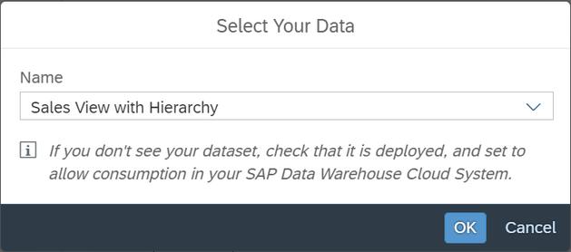 SAP Analytics Cloud Select Dataset