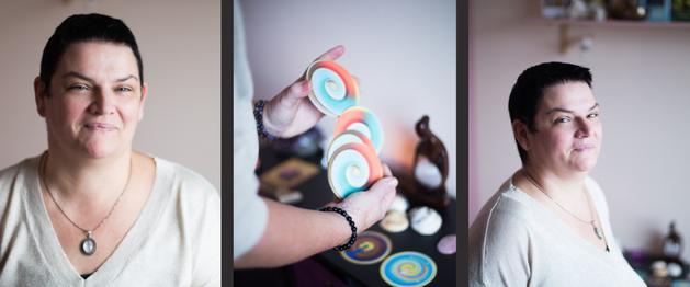 trio photos de Solange : 2 portraits avec beau sourire et 1 photo des mains qui battent les cartes