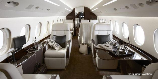 La cabine spacieuse du Dassault Falcon 2000LXS