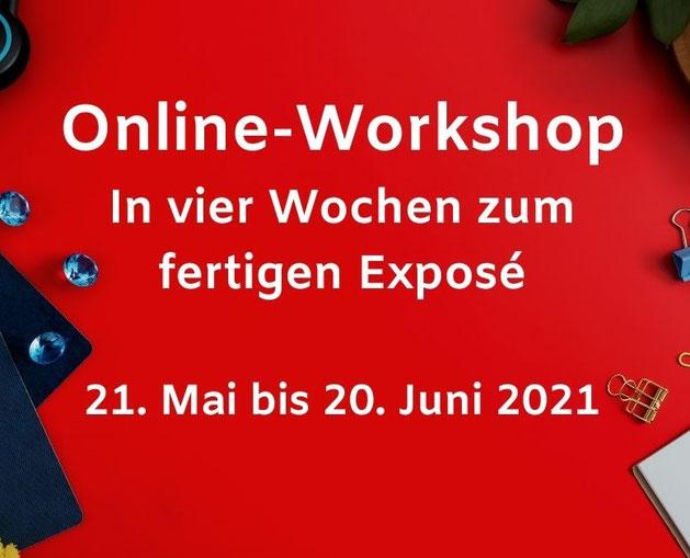 Roter Schreibtisch bezeichnet: Dein Exposé als Motivationsbooster. Online-Workshop, 13. Mai 2020, 16 bis 20:30 Uhr