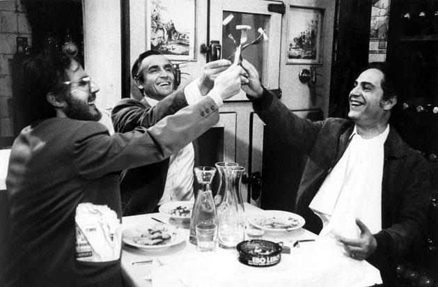 "Stefano Satta Flores, Vittorio Gassman, Nino Manfredi, ""C'eravamo tanto amati"", Ettore Scola, 1974"