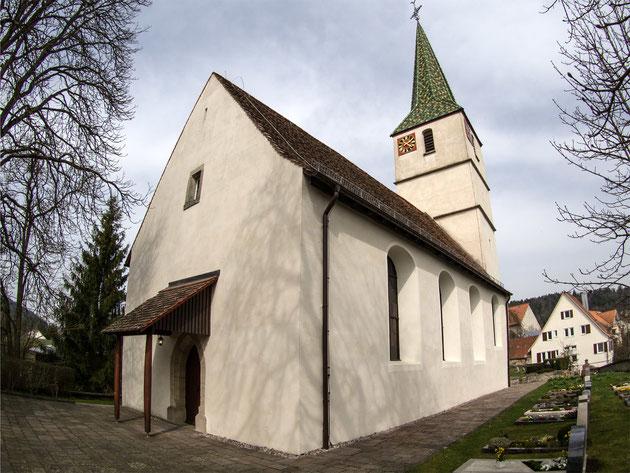Die Kirche Trichtingen aufgenommen mit dem Fish-Eye-Objektiv