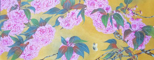 宝居智子「ぼんぼり八重桜 -関山-」 雲肌麻紙・岩絵具 24.3x60.9cm