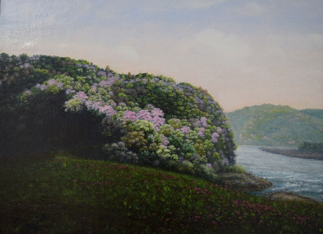 中村晴信「天竜の花見」油彩 P8