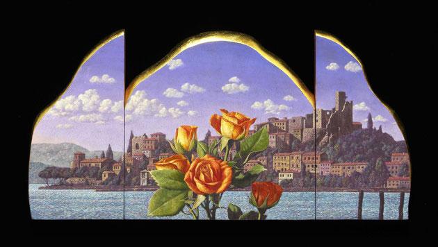細迫諭「湖と花の時間」油彩・テンペラ・箔・パネル・布・20x40cm