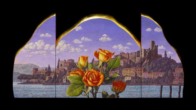 湖と花の時間 20x40cm テンペラ・油彩・パネル・布・箔