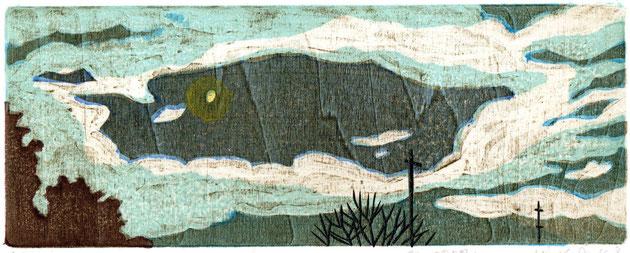 「雲の隙間に」 木版画 9.5x24.2cm