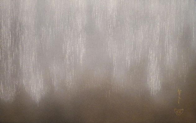 宝居智子「足利大藤-白-」 雲肌麻紙・岩絵具 M10