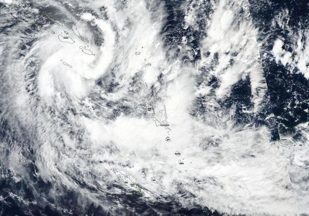 Satellite image of Tropical cyclone Harold near the Solomon Islands, 03/04/2020. Image from NOAA.