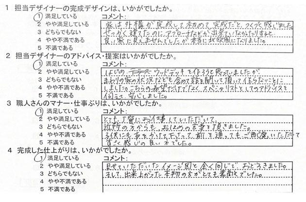 瀬戸市 S様から頂いたエクステリア工事アンケートの全文です。