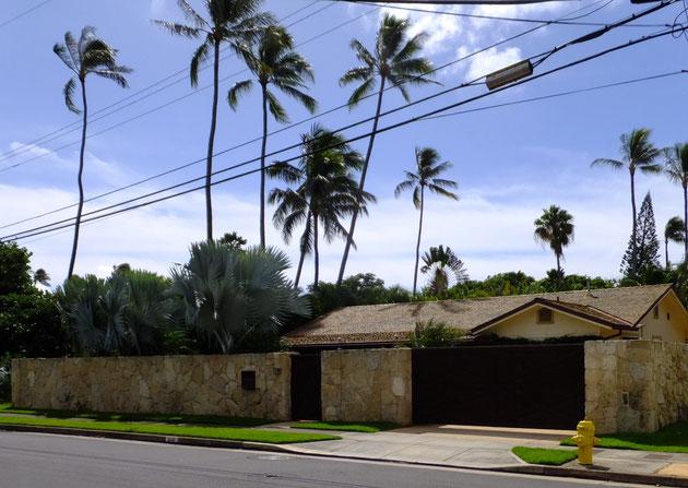ザ・ハワイを感じさせるのは高く聳え立つヤシノキ。フルクローズの高い壁の有る外構だが、ヤシノキの高さで壁の高さを忘れる。