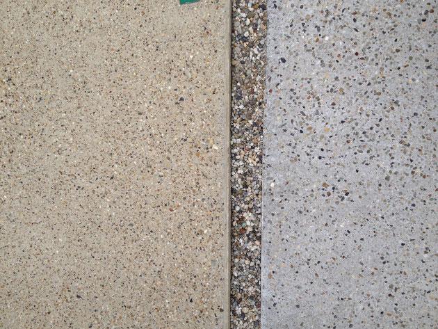 左が柴垣で施工した洗い出し。右が他業者で施工した洗い出し。色や中に入っている骨材等が違うのがお分かりだろうか?